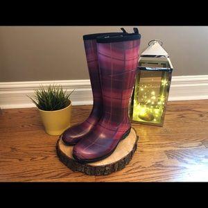 Kamik Purple Plaid Rubber Rain Boots WORN ONCE
